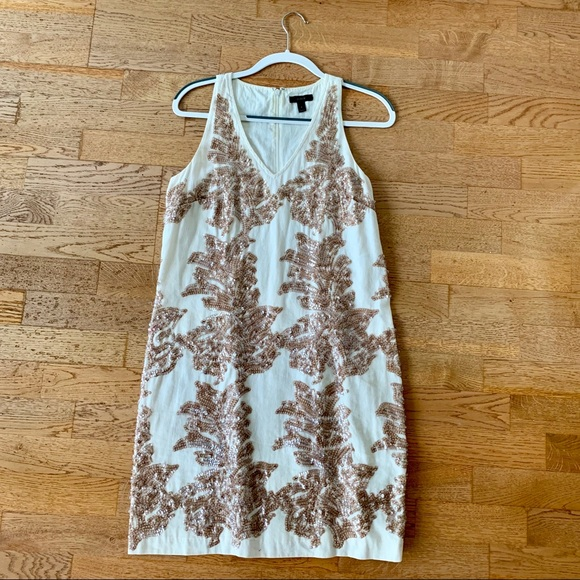 J. Crew Dresses & Skirts - J Crew sequined white and rose gold dress (SIZE 6)